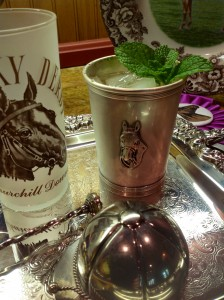 A couple of fine julep cups: 1964 Kentucky Derby & a equestrian motif silver beaker.