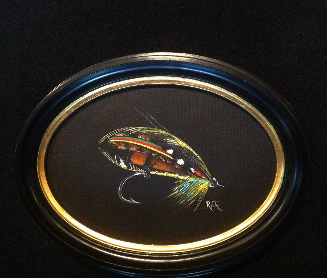 The Wilkinson hand painted classic salmon fly by Rita Schimpff for Heritage Game Mounts