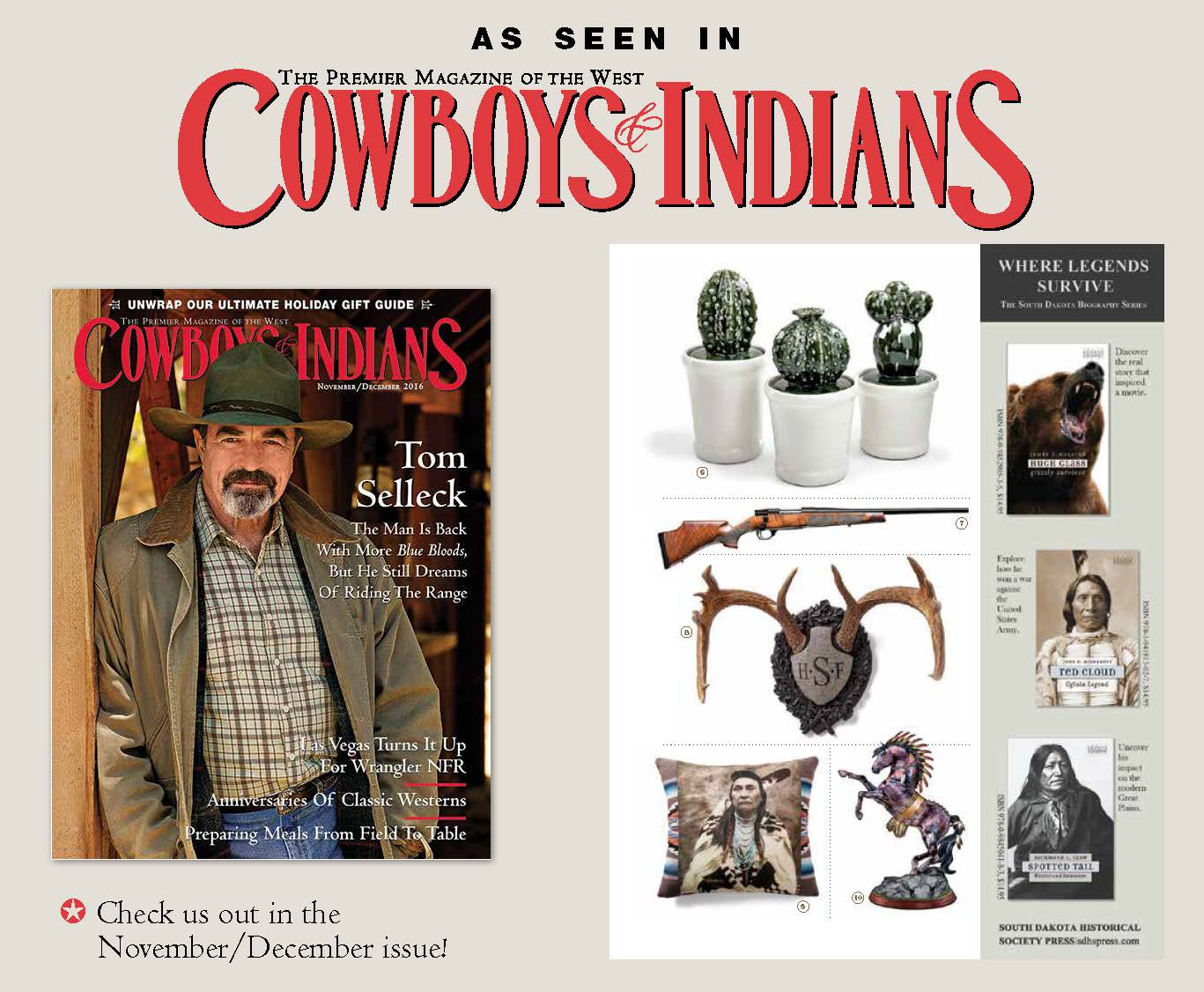 Our popular monogrammed Legacy by Heritage Game Mounts featured in  Cowboys & Indian Magazine gift guide 2016.
