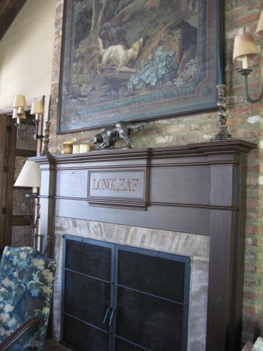 Antique sporting art inspires the colors for this handsome room at Mississippi's Longleaf Plantation