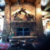 Stack stone fireplace at Trinchera Ranch - fabulous taxidermy