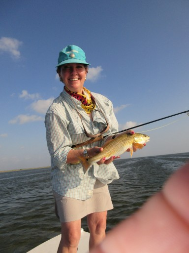 Rita Schimpff with her first redfish on the fly!