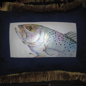 hand painted sea trout on lambskin