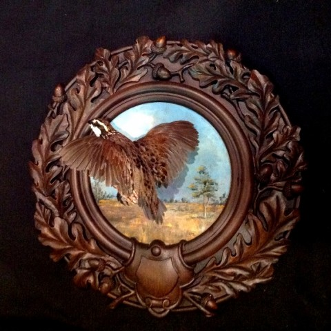 Bob White Quail on Oak Leaf Panel