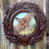 hand painted quail on oak leaf taxidermy panel