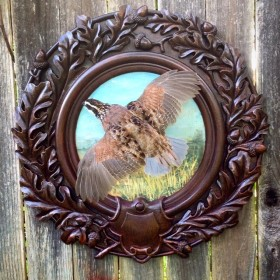 flying quail on hand painted oak leaf panel