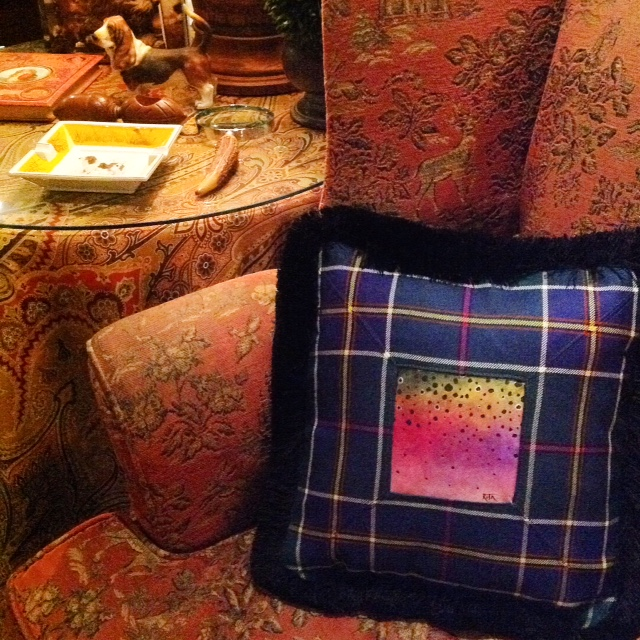 Hand painted Rainbow Trout Pillow sewn into a tartan pillow