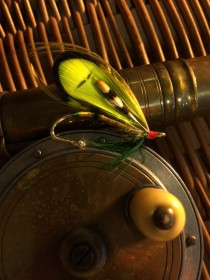 The Green Goddess fly fishing lapel pin
